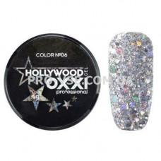OXXI HOLLYWOOD Gel 06 Серебро, голографические блестки (Окси Голливуд) фото | PRO-VSE