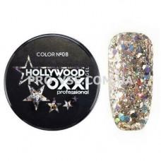 OXXI HOLLYWOOD Gel 08 Светлое золото, голографические блестки (Окси Голливуд) фото | PRO-VSE