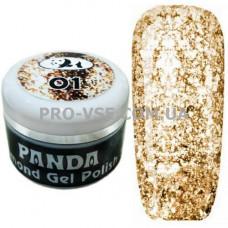 Гель-лак PANDA 01 Золотой бриллиантовая коллекция Diamond Collection 5 г