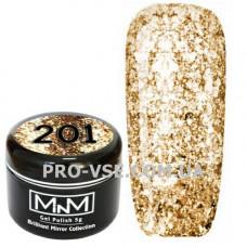 Гель-лак Бриллиантовый 201 Золото M-in-M Brilliant Mirror Collection 5 г