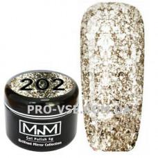 Гель-лак Бриллиантовый 202 Светлое золото M-in-M Brilliant Mirror Collection 5 г