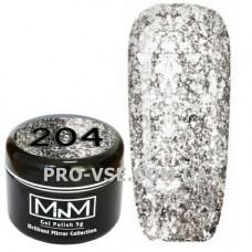 Гель-лак Бриллиантовый 204 Темное серебро M-in-M Brilliant Mirror Collection 5 г
