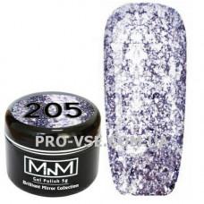 Гель-лак Бриллиантовый 205 Фиолетовый M-in-M Brilliant Mirror Collection 5 г