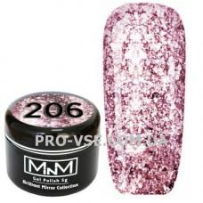 Гель-лак Бриллиантовый 206 Розовый M-in-M Brilliant Mirror Collection 5 г