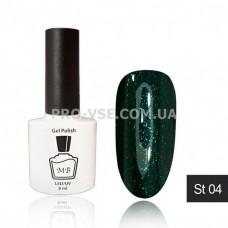 Гель-лак МВ ST-04 Темно-зеленый с зелеными блестками 8 мл фото ногти | PRO-VSE