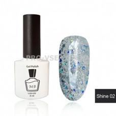 Гель-лак МВ Sh-02 Серебро с голубыми блестками Shine collection 8 мл фото ногти   PRO-VSE