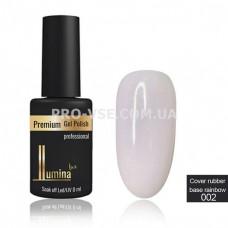 LUMINA lux Cover rubber base Rainbow 002 молочно-розовая каучуковая база с хлопьями юки 8мл фото   PRO-VSE