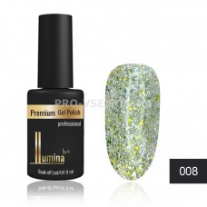 Гель-лак LUMINA lux №008 серебристо-золотые блестки, 8мл фото ЛЮМИНА люкс | PRO-VSE