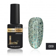 Гель-лак LUMINA lux №009 серебристо-голубые блестки, 8мл фото ЛЮМИНА люкс | PRO-VSE