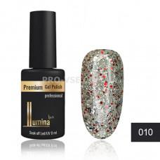 Гель-лак LUMINA lux №010 серебристо-красные блестки, 8мл фото ЛЮМИНА люкс | PRO-VSE