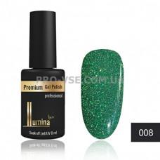 Светоотражающий гель-лак LUMINA lux DISCO FASHION №08 зеленый, блестки 8 мл фото ЛЮМИНА люкс | PRO-VSE