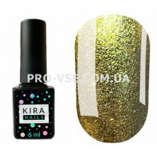 Гель-лак Kira Nails 24 Karat 005 желтое золото, насыщенный микроблеск, жидкое золото 6 мл