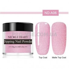DIP-пудра NicoleDiary ND-A06 светлый лилово-розовый с микроблеском 10г фото в работе | PRO-VSE