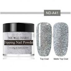 Дип-пудра NicoleDiary ND-A41 серебро, блестки 10г фото в работе   PRO-VSE