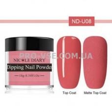 DIP-пудра NicoleDiary ND-U08 карминный красный, эмаль 10г фото в работе   PRO-VSE
