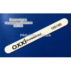 Пилка для ногтей 100/180 OXXI professional серая прямая тонкая на деревянной основе фото