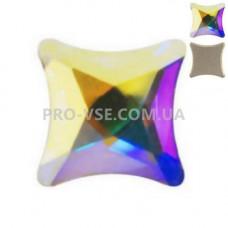 Стразы фигурные crystal AB Квадрат втянутый 6х6 мм 10 шт фото на ногтях | PRO-VSE