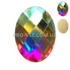 Стразы фигурные Crystal AB Овал 6х8мм EsVorp фото на ногтях | PRO-VSE