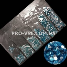Стрази SS3 - SS10 Aquamarine голубые Микс размер EsVorp 1440 шт