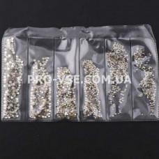 Стрази SS3 - SS10 Crystal Микс размер EsVorp 1440 шт
