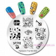 Диск для стемпинга NicoleDiary Fantastic Trip ND-002 фото в работе | PRO-VSE