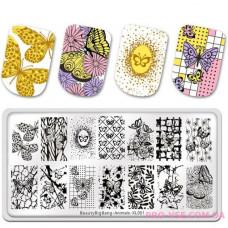 Пластина для стемпина BeautyBigBang Animals XL-001 фото обзор ногти | PRO-VSE
