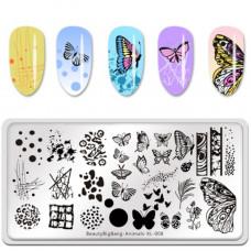 Пластина для стемпинга BeautyBigBang Animals XL-008 фото обзор ногти   PRO-VSE
