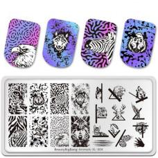 Пластина для стемпинга BeautyBigBang Animals XL-004 фото обзор ногти   PRO-VSE