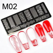 Пластина для стемпинга YZW-M02 фото ногти   PRO-VSE