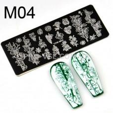 Пластина для стемпинга YZW-M04 фото ногти   PRO-VSE