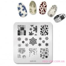 Пластина для стемпинга KADS 005 снежинки фото | PRO-VSE