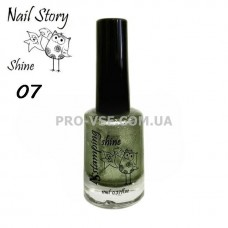 Nail Story Shine лак для стемпинга №07 Оливковый глиттерный фото | PRO-VSE