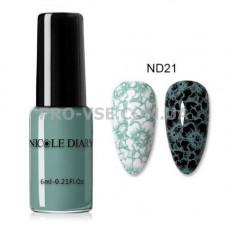 Лак для стемпинга NICOLE DIARY 21 приглушенный бирюзовый 6мл фото ногти | PRO-VSE