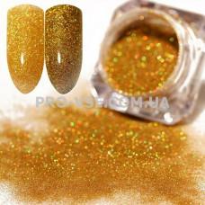 Блестящая зеркальная пыль 0.1мм (200) Золото голографический 1.5 г фото