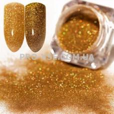 Блестящая зеркальная пыль 0.1мм (201) Золото темное голографическое 1.5г фто