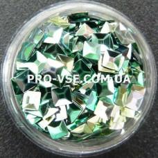 3D блестки квадрат 06 Изумрудно-оливковый хамелеон 1г фото