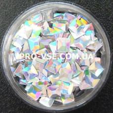 Объемные 3D блестки квадрат опт 100 Серебро голографический 10г, 50г, 100г, 200г, 500г, 1000г фото