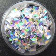 3D блестки квадрат 100 Серебро голографический 1г, 1.5г фото