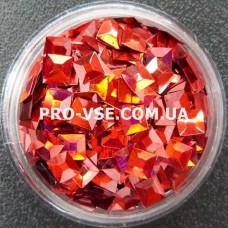 Объемные 3D блестки квадрат опт 300 Красный голографический фото