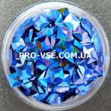3D блестки квадрат 705 Синий голографический 1г фото