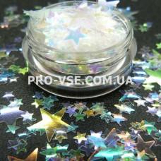 Звезды прозрачный декор Битое стекло, микс размер /пакет/ 1г