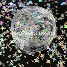 Звезды блик Серебро голографический декор для ногтей  фото