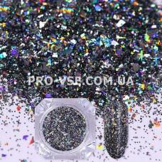 Блестки для ногтей хлопья Черные голографические фото