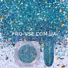 Блестки для ногтей хлопья Голубые голографические фото