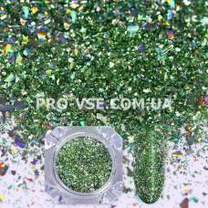 Блестки для ногтей хлопья Зеленые голографические фото