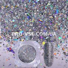 Блестки для ногтей хлопья Серебро голографические фото