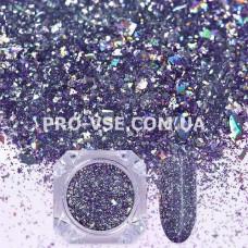 Блестки для ногтей хлопья Стальной сиренево-голубой гологр. фото