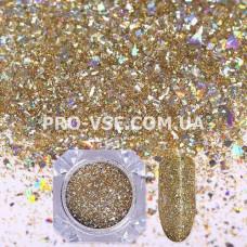 Блестки для ногтей хлопья Шампанское гологр. (светлое золото) фото