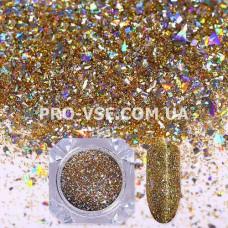 Блестки для ногтей хлопья Золотые голографические фото