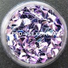 Объемные 3D блестки бриллиант опт 05 фиолетово-сиреневый, хамелеон 10г, 50г, 100г, 200г, 500г, 1000г фото